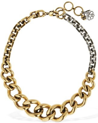 Alexander McQueen Two Tone Short Chain Necklace
