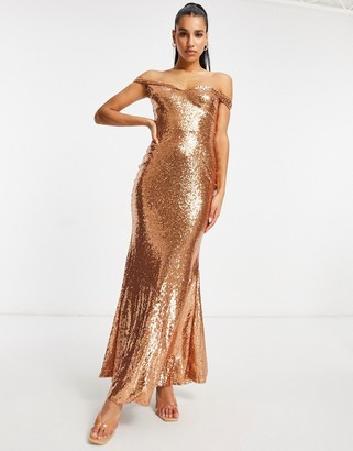 Club L London Club L bardot sequin maxi dress with fishtail in rosegold