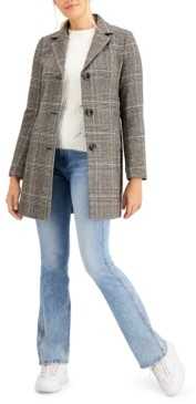 Maralyn & Me Juniors' Plaid Walker Coat, Created for Macy's