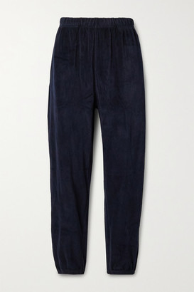 LES TIEN Cotton-blend Velour Track Pants - Midnight blue