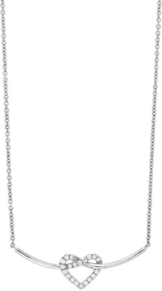 Bony Levy 18K White Gold Pave Heart Diamond Heart & Curved Bar Pendant Necklace