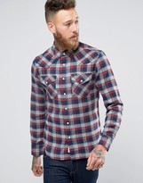 Lee Slim Check Flannel Western Shirt Navy