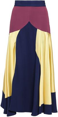 Roksanda Rania Color-block Hammered Satin-paneled Silk-crepe Midi Skirt