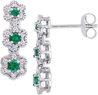Laura Ashley Diamond Bouquet 10K White Gold, Created Emerald 0.2 CT. T.W. Diamond Flower Dangle Earrings
