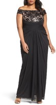 Adrianna Papell Plus Size Women's Sequin Lace & Draped Tulle Gown