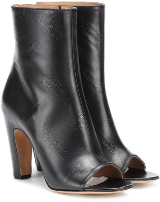 Maison Margiela Embossed leather peep-toe ankle boots