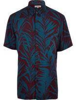 River Island MensPurple palm tree print short sleeve shirt
