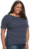 Croft & Barrow Plus Size Striped Boatneck Tee