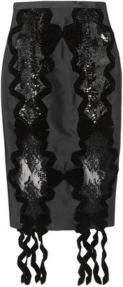 Erdem Denica Velvet-trimmed Sequined Satin And Lace Midi Skirt
