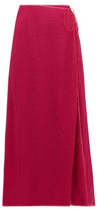 Oseree Lumiere Lame Wrap Skirt - Dark Pink