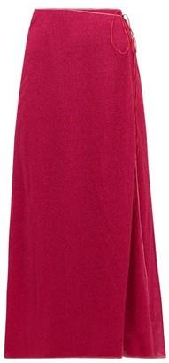 Oseree Lumiere Lame Wrap Skirt - Womens - Dark Pink