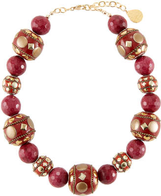 Devon Leigh Mixed Red Bead Necklace