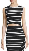Ted Baker Onissa Sleeveless Bias-Striped Crop Top, Black