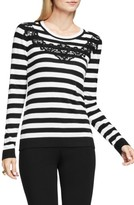 Vince Camuto Petite Women's Lace Trim Stripe Sweater