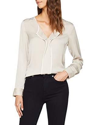 Seidensticker Women's 126225 Regular Fit V-Neck Long Sleeve Blouse - Beige - 8