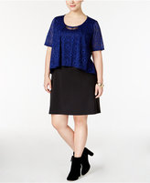 NY Collection Plus Size Lace-Popover Sheath Dress