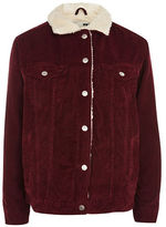 Topshop PETITE Cord Oversized Borg Jacket