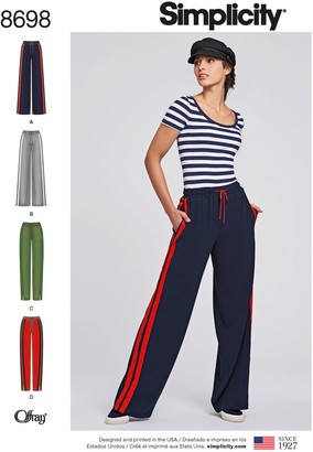 Simplicity Pull-On Trousers Sewing Pattern, 8698, XS-XL