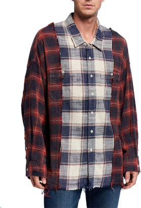 R 13 Men's Drop-Neck Combination Plaid Work Shirt