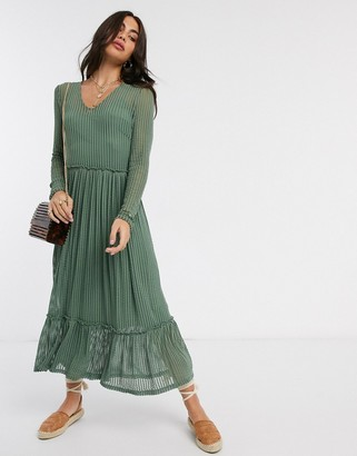 Y.A.S smock midi dress with stripe detail in green