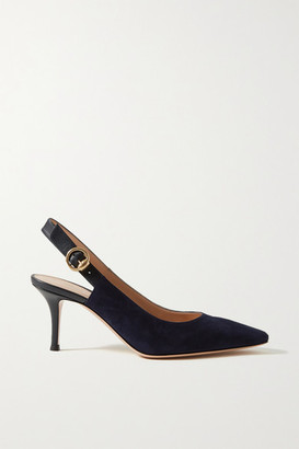 Gianvito Rossi 70 Suede And Leather Slingback Pumps - Navy