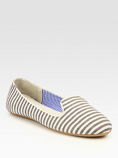 Charles Philip Shanghai Tropez Striped Canvas Smoking Slippers