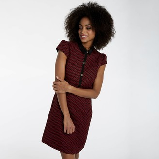 Naf Naf Short Jacquard Shirt Dress with Heart Print and Short Sleeves
