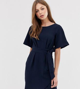 Closet London Closet tie front dress with kimono sleeve-Navy
