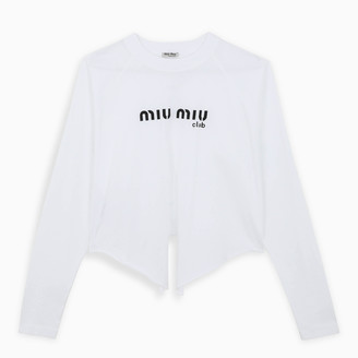 Miu Miu White logoed t-shirt with knot