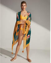 Express tropical floral open cover-up
