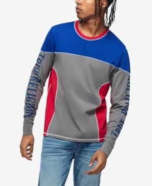 True Religion Men's 90S Panel Long Sleeve Colorblocked Rugby Crewneck Sweatshirt