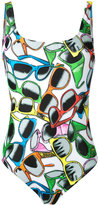 Moschino sunglasses print swimsuit - women - Polyester/Spandex/Elastane - 1