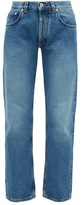 Loewe Flower-embroidered Straight-leg Jeans - Womens - Blue
