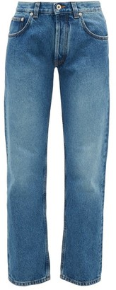 Loewe Flower-embroidered Straight-leg Jeans - Blue