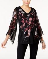 Alfani Embroidered Illusion-Sleeve Top, Created for Macy's