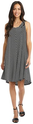 Karen Kane Sleeveless High-Low Dress (Stripe) Women's Clothing