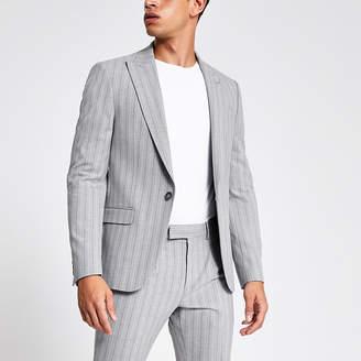 River Island Grey stripe skinny suit jacket