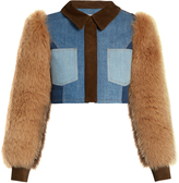 Sonia Rykiel Fur and suede-panel cropped denim jacket