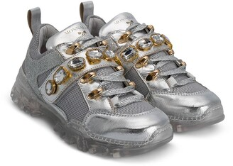 MonnaLisa Gem-Embellished Low-Top Sneakers