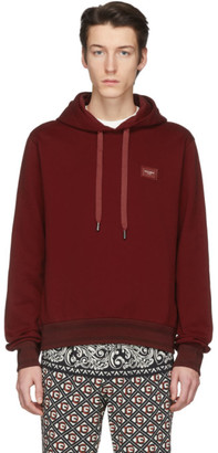 Dolce & Gabbana Red Branded Plate Hoodie