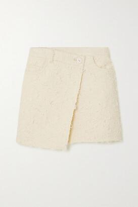 Acne Studios Asymmetric Wrap-effect Boucle-tweed Mini Skirt