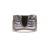 Silver/Black Metallic Clutch