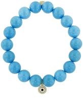 Sydney Evan Evil Eye Disc Charm On Turquoise Beaded Bracelet