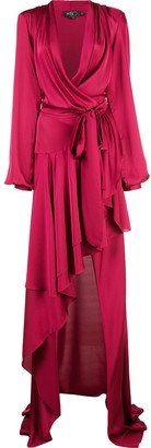 PatBO Hi-low maxi wrap dress