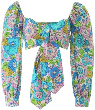 Dodo Bar Or Floral Print Tie Front Top