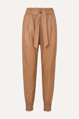 MUNTHE Belted Leather Tapered Pants - Camel