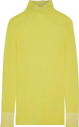 Victoria Victoria Beckham Neon Ribbed Wool Turtleneck Top