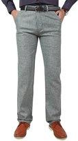 OCHENTA Men's Modern Fit Easy Care Linen Blend Flat Front Pant