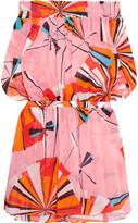 Emilio Pucci Off-the-shoulder Printed Cotton-voile Mini Dress - Bright orange