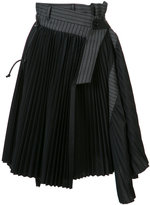 Sacai asymmetric pleated skirt - women - Cotton - 3